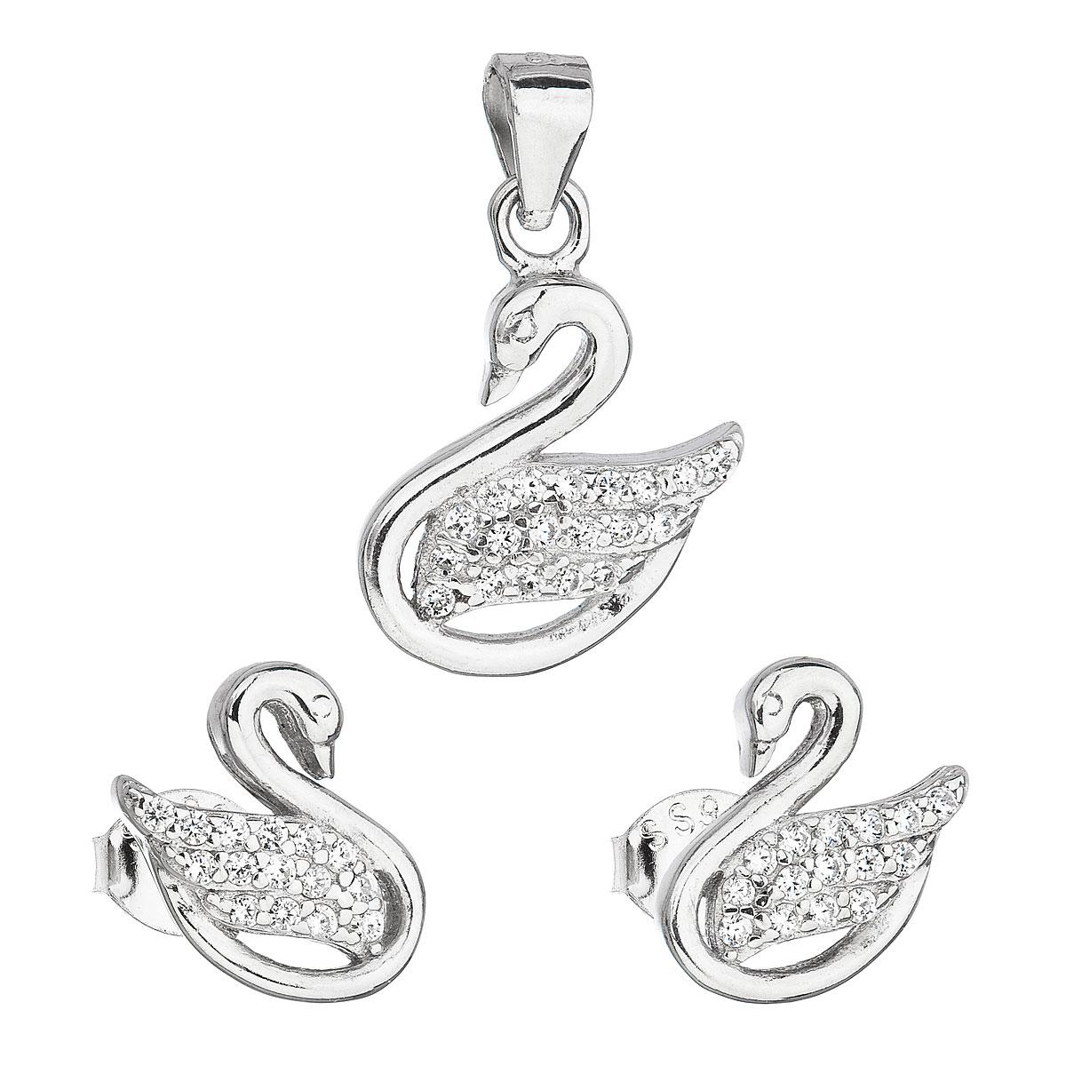 Evolution Group Sada šperků se zirkonem náušnice a přívěsek bílá labuť 19010.1