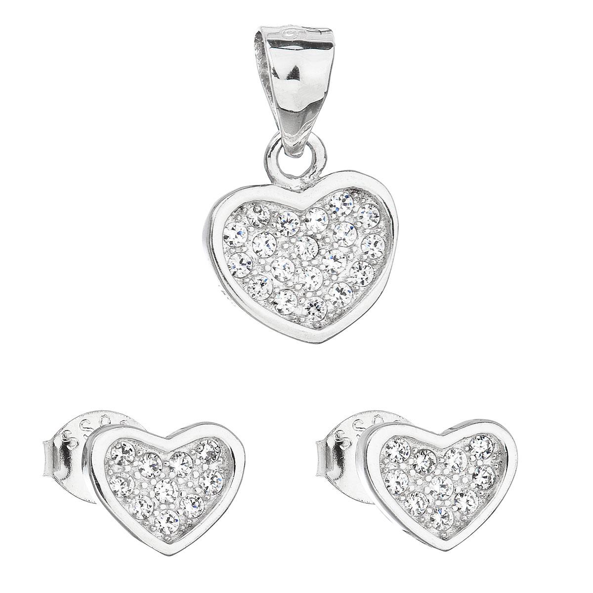 Evolution Group Sada šperků se zirkonem náušnice a přívěsek bílé srdce 19011.1