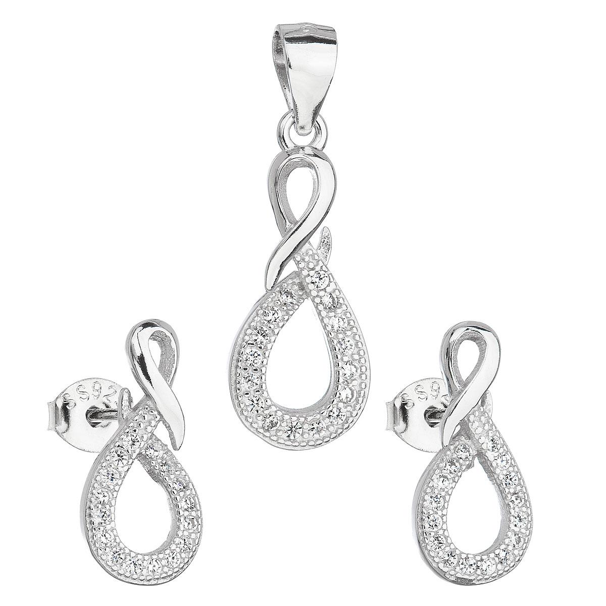 Evolution Group Sada šperků se zirkonem v bílé barvě náušnice a přívěsek 19012.1