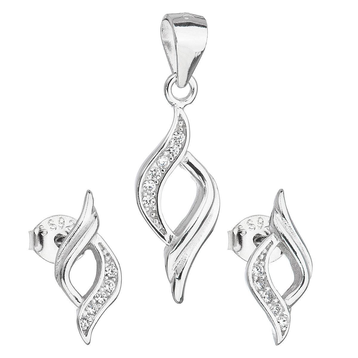 Evolution Group Sada šperků se zirkonem v bílé barvě náušnice a přívěsek 19013.1