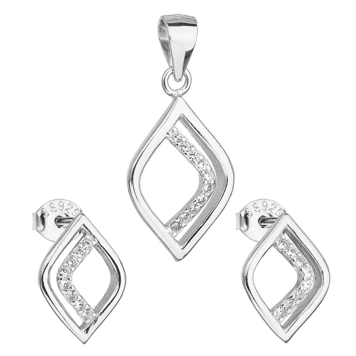 Evolution Group Sada šperků se zirkonem v bílé barvě náušnice a přívěsek 19014.1