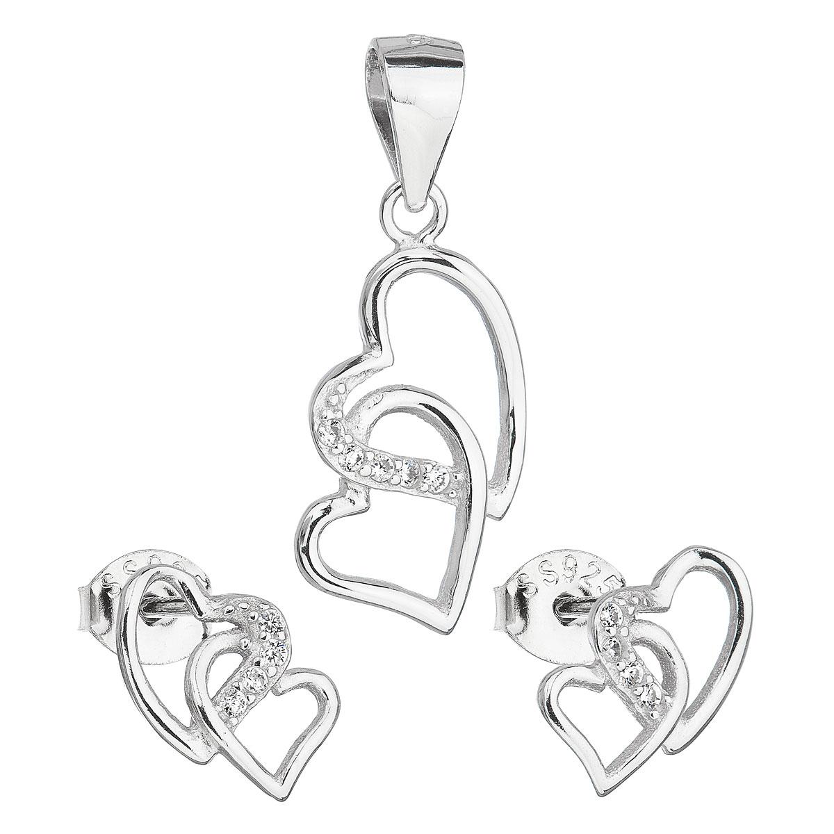 Evolution Group Sada šperků se zirkonem náušnice a přívěsek bílé srdce 19015.1