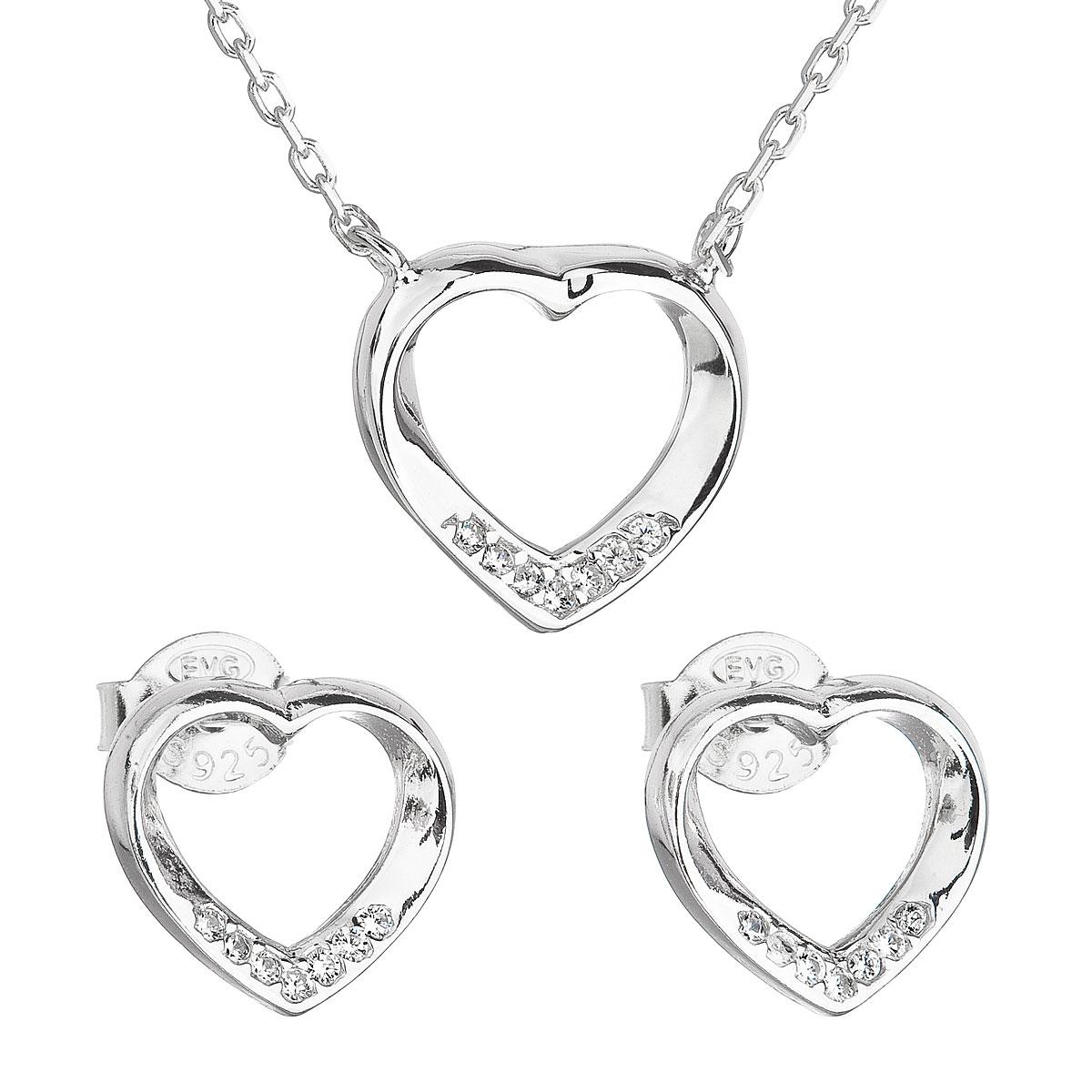 Evolution Group Sada šperků se zirkonem náušnice a náhrdelník bílé srdce 19019.1