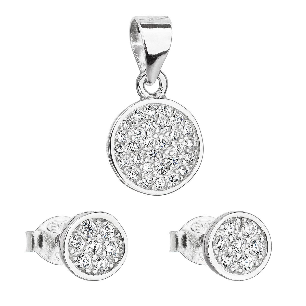 Evolution Group Sada šperků se zirkonem v bílé barvě náušnice a přívěsek 19020.1
