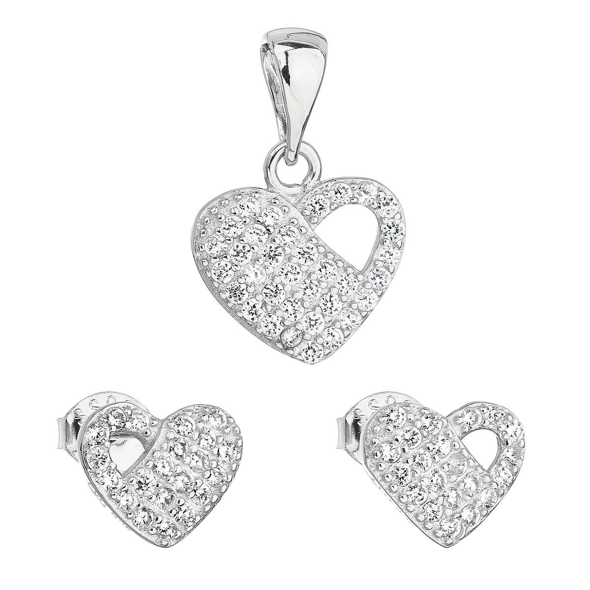 Evolution Group Sada šperků se zirkonem náušnice a přívěsek bílé srdce 19021.1