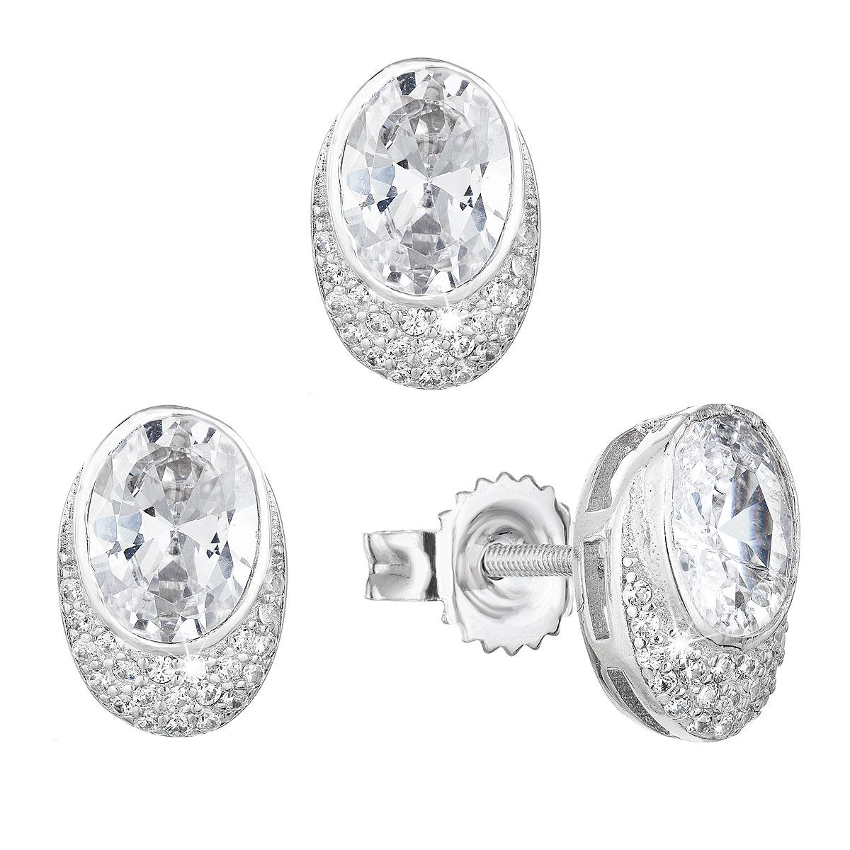 Evolution Group Sada šperků se zirkonem náušnice a přívěsek bílý ovál 19022.1