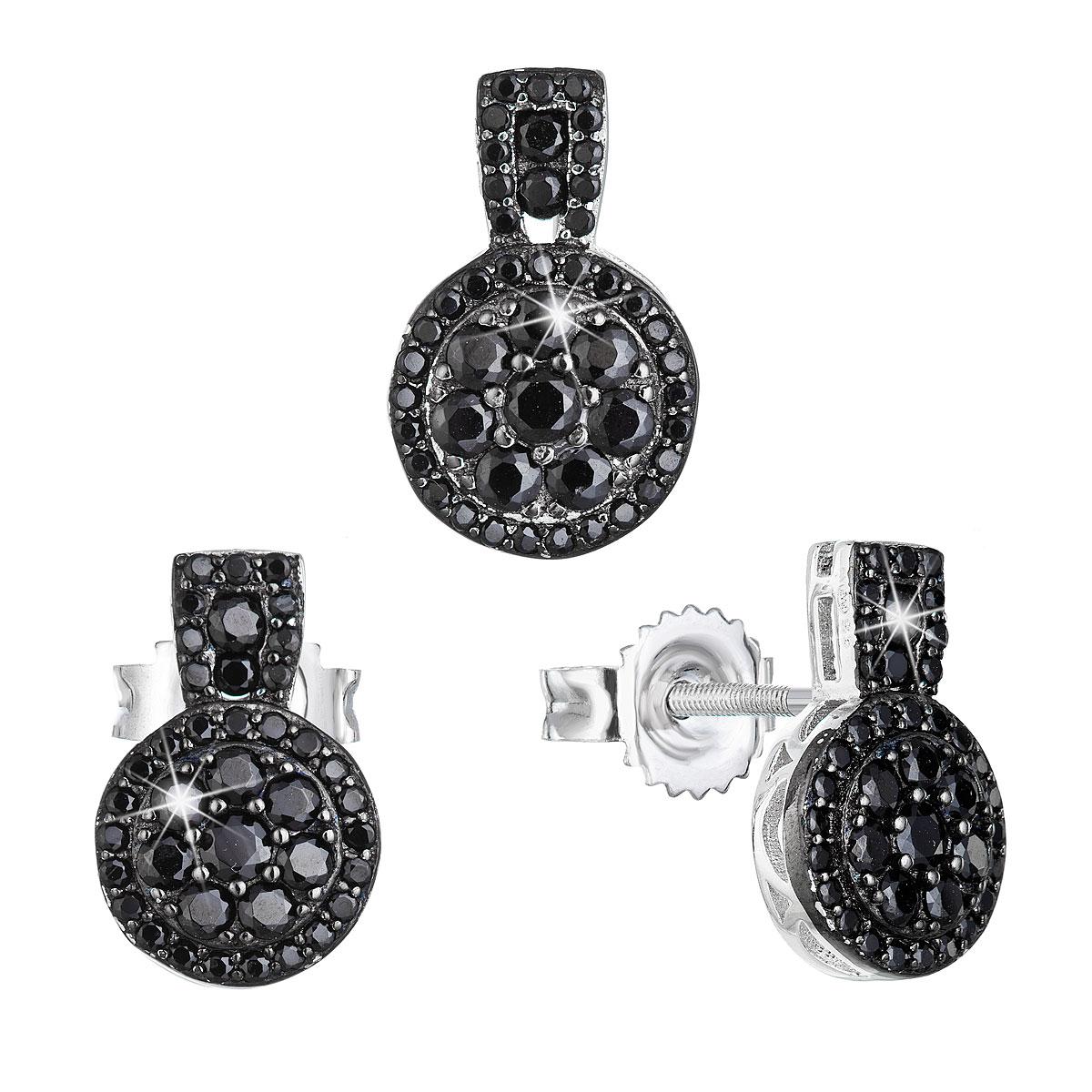 Evolution Group Sada šperků se zirkonem náušnice a přívěsek černé kulaté 19024.3