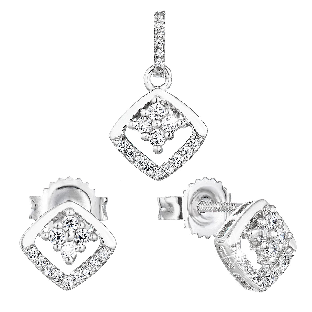 Evolution Group Sada šperků se zirkonem náušnice a přívěsek bílý kosočtverec 19025.1