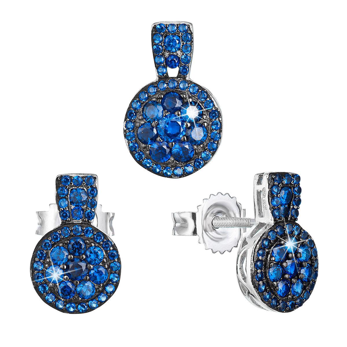 Evolution Group Sada šperků se zirkonem náušnice a přívěsek modré kulaté 19024.3