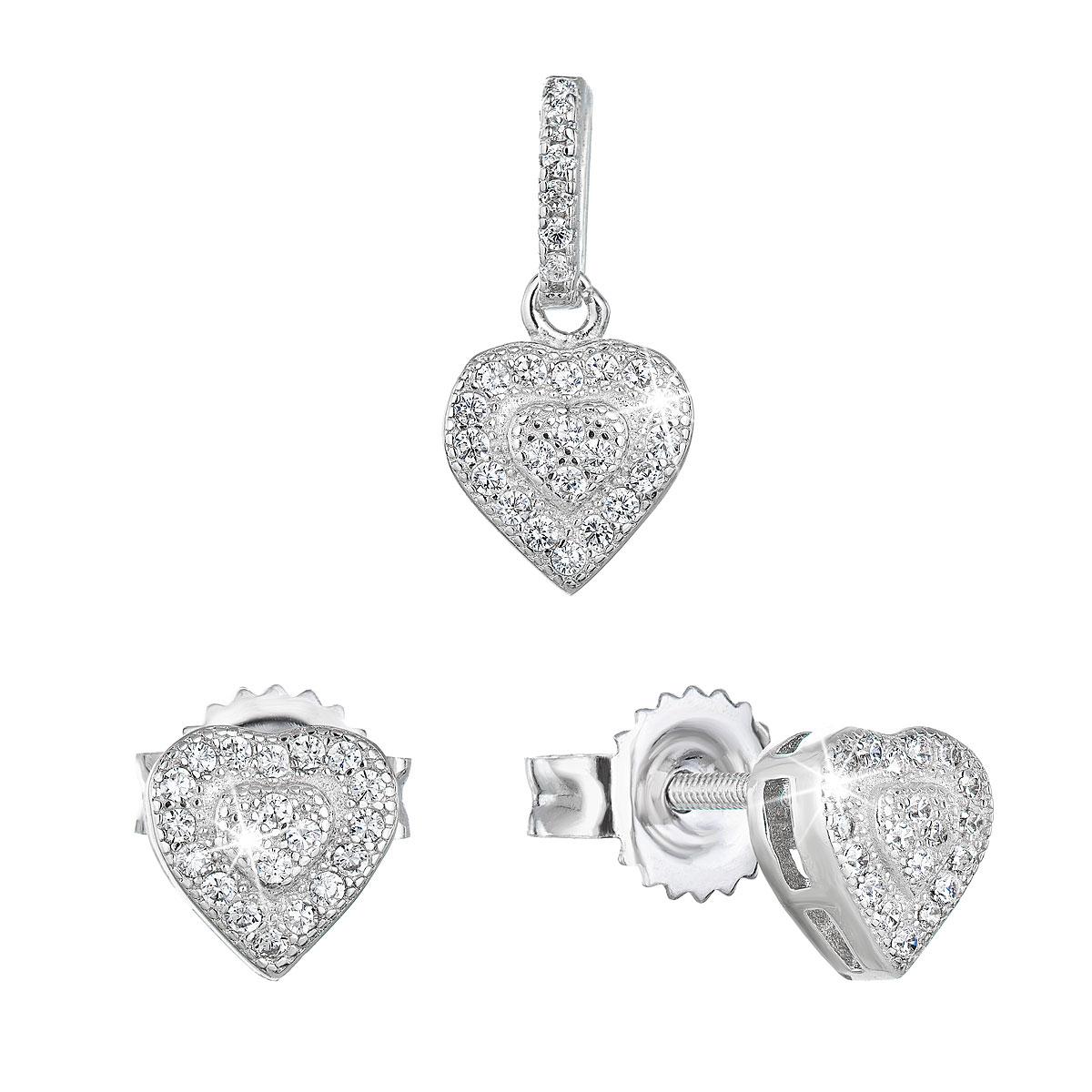 Evolution Group Sada šperků se zirkonem náušnice a přívěsek bílé srdce 19027.1