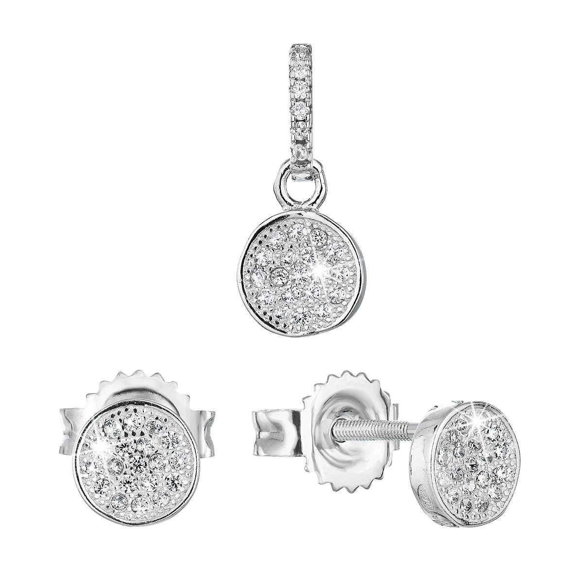 Evolution Group Sada šperků se zirkonem náušnice a přívěsek bílé kulaté 19028.1