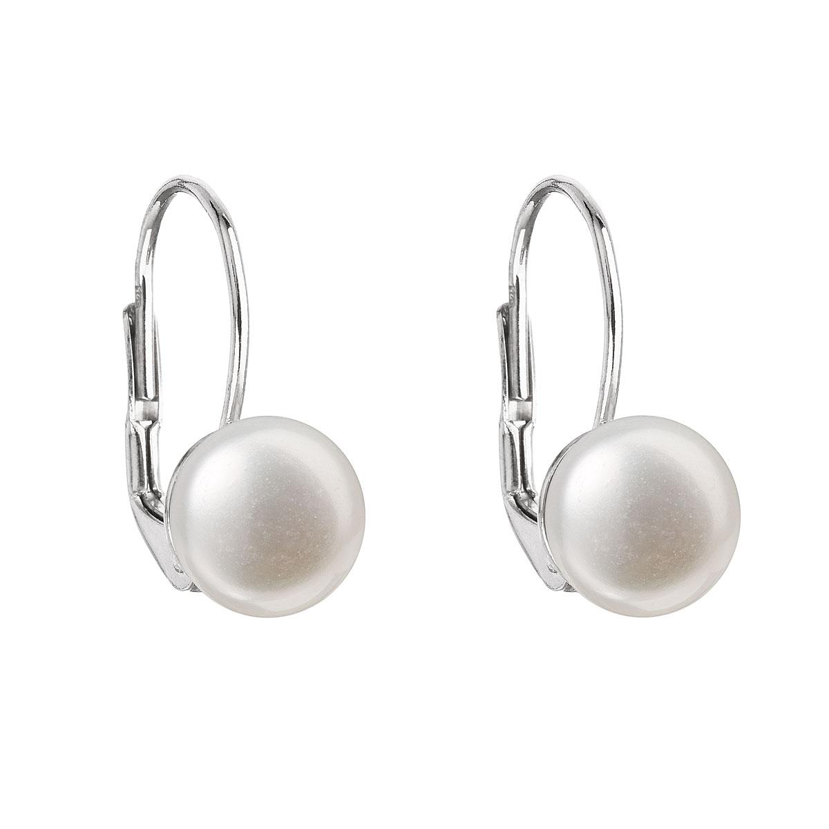 Evolution Group Stříbrné náušnice visací s bílou říční perlou 21009.1