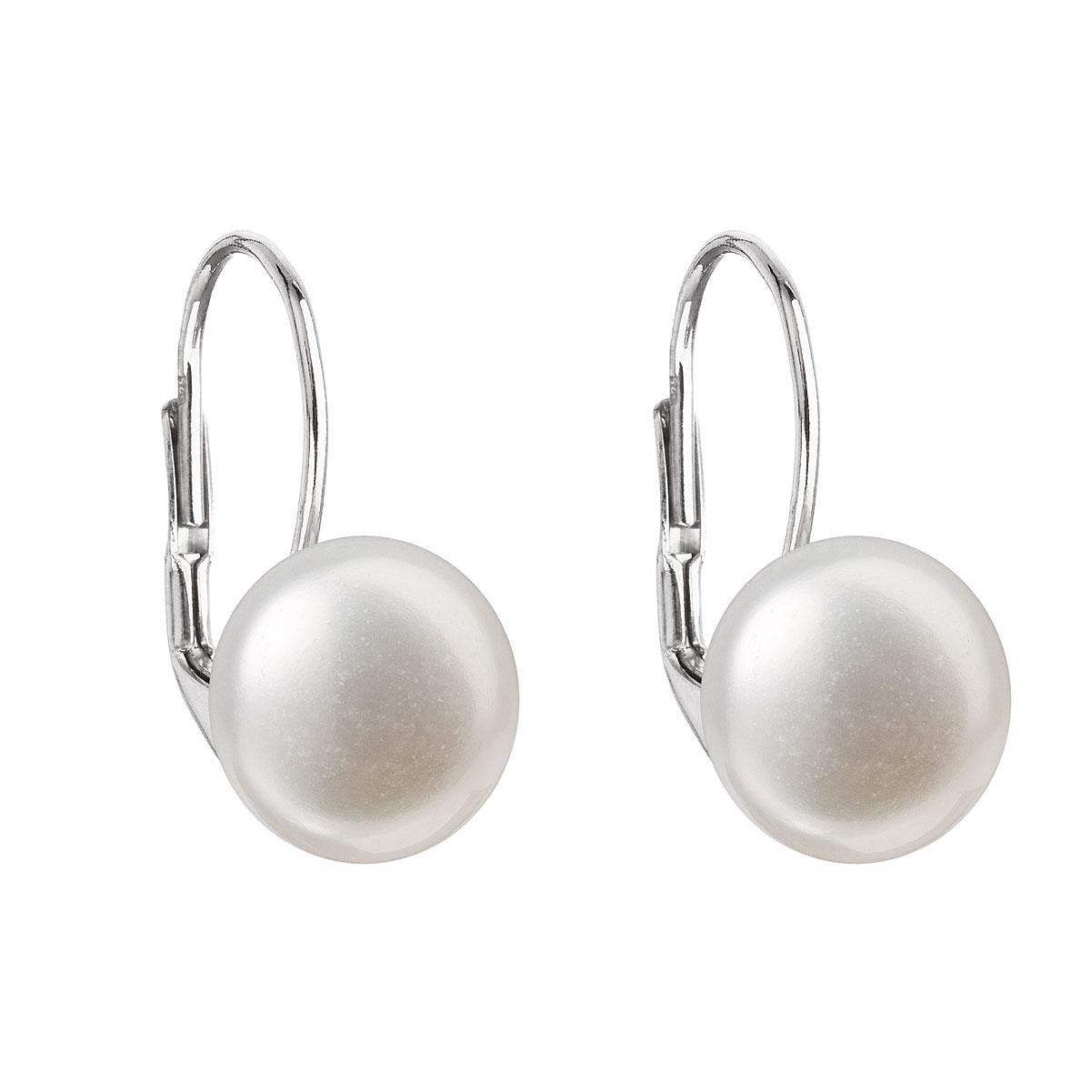 Evolution Group Stříbrné náušnice visací s bílou říční perlou 21010.1