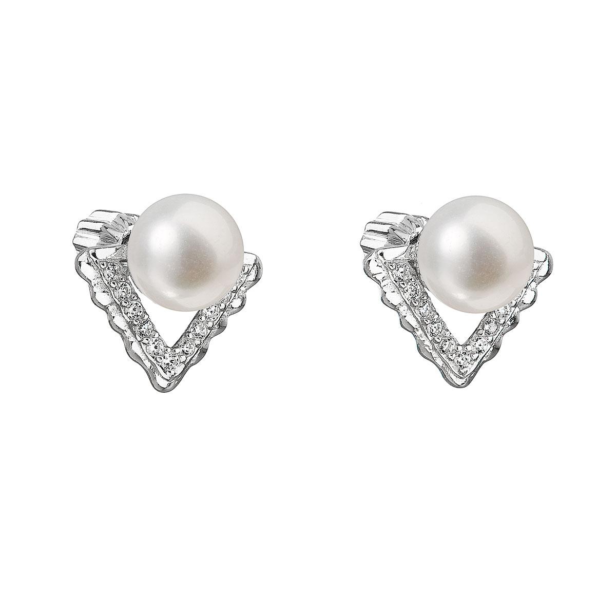 Evolution Group Stříbrné náušnice pecky s bílou říční perlou 21012.1