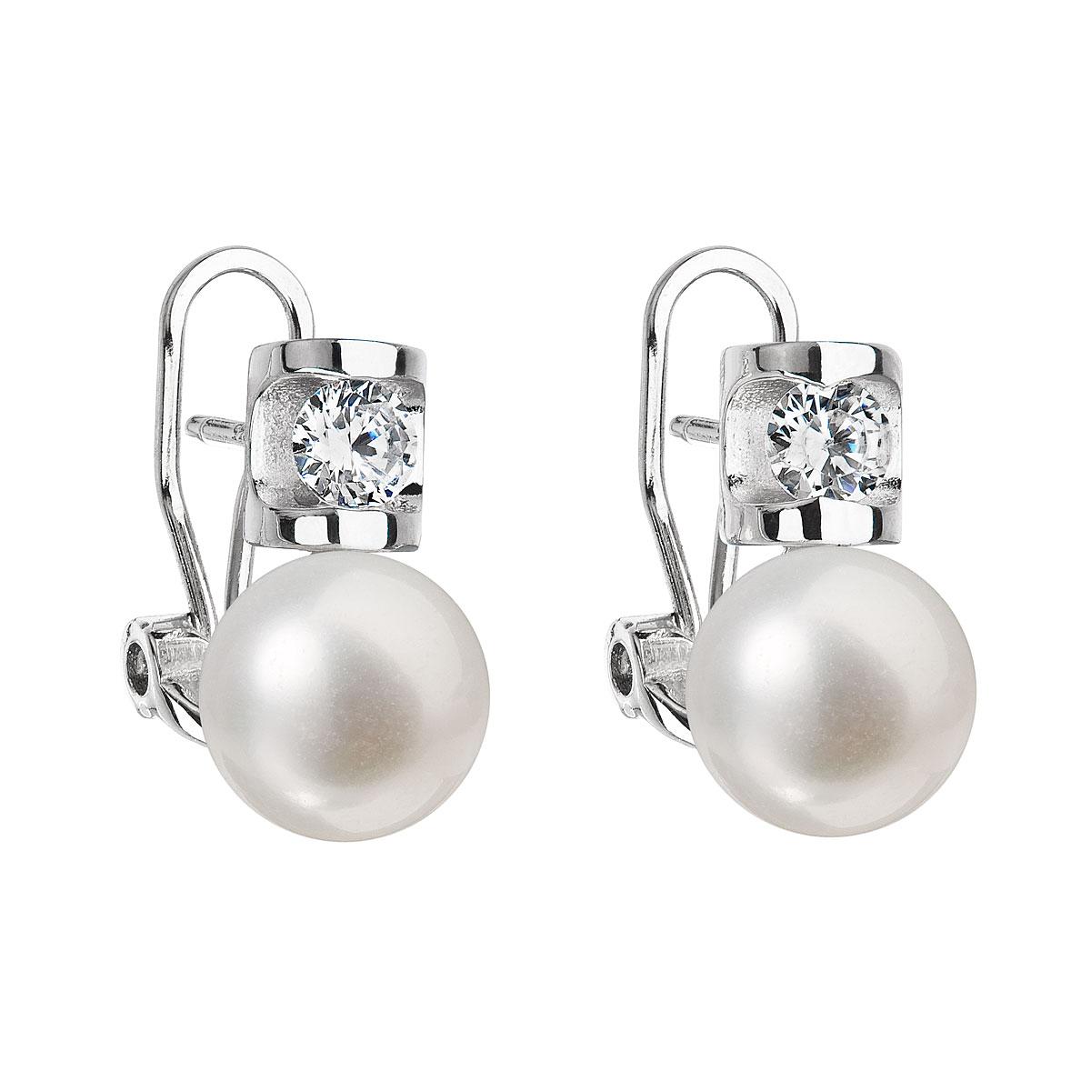 Stříbrné náušnice visací s bílou říční perlou 21018.1 fd62deb129b