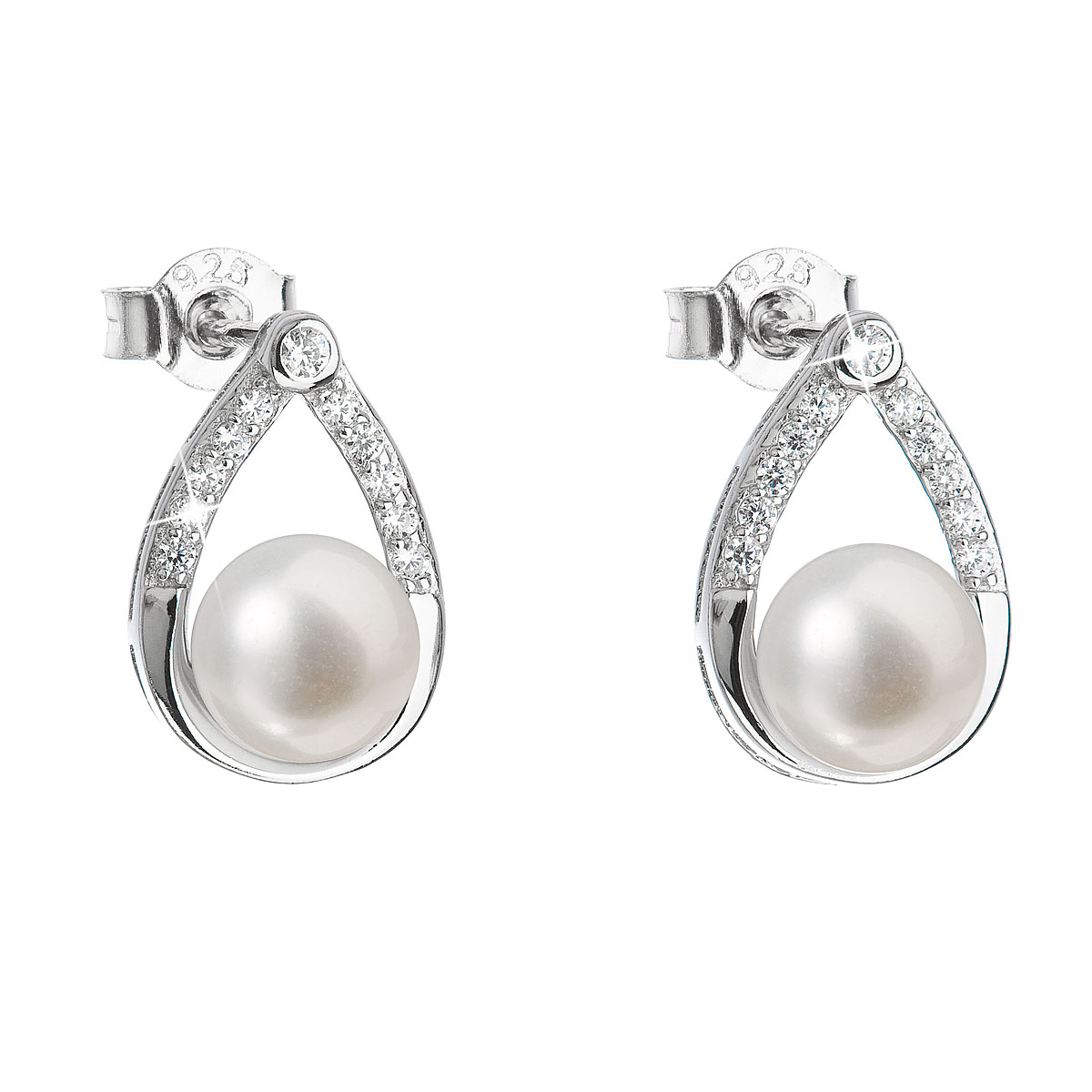 Stříbrné náušnice visací s bílou říční perlou 21033.1