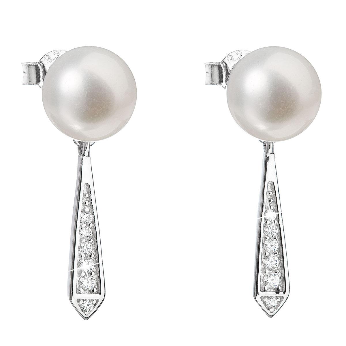 Evolution Group Stříbrné náušnice visací s bílou říční perlou 21036.1