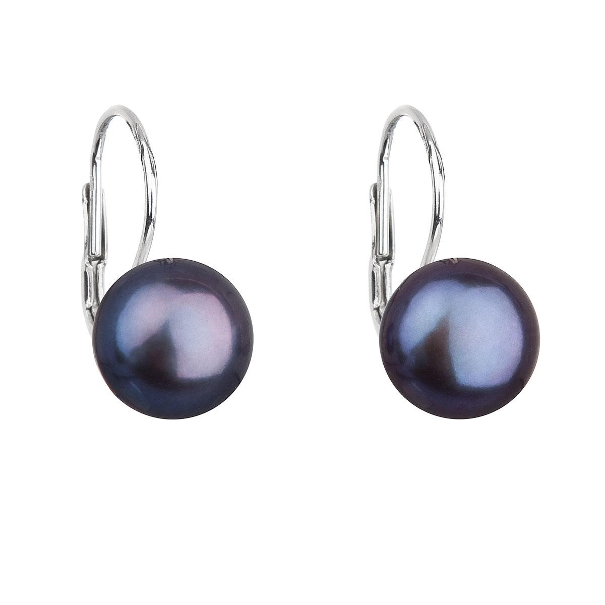Evolution Group Stříbrné náušnice visací s modrou říční perlou 21009.3