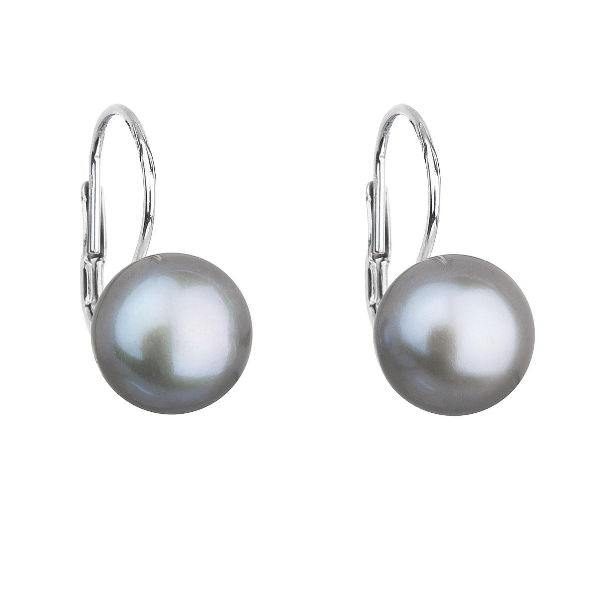 Evolution Group Stříbrné náušnice visací s šedou říční perlou 21009.3