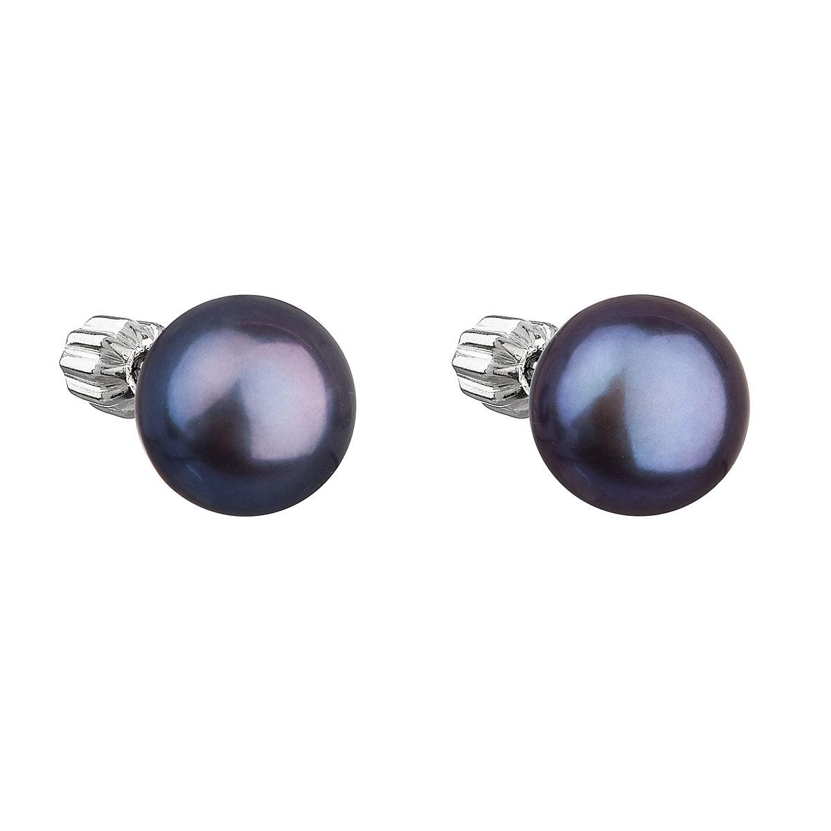 Evolution Group Stříbrné náušnice pecky s modrou říční perlou 21004.3
