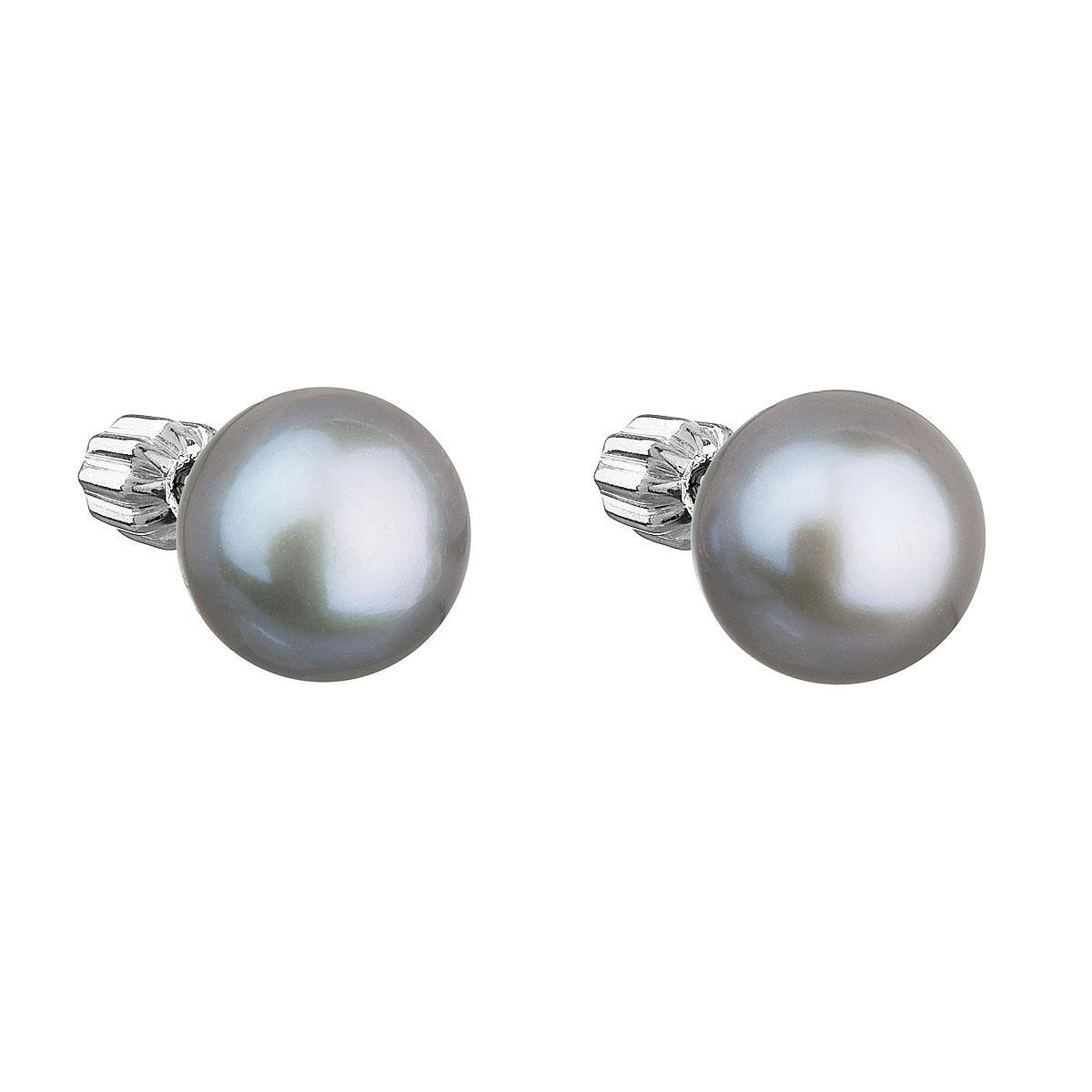Evolution Group Stříbrné náušnice pecky s šedou říční perlou 21004.3