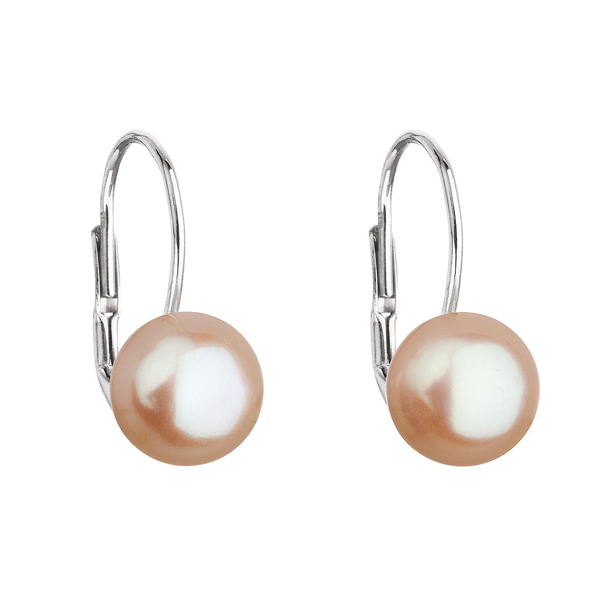 Evolution Group Stříbrné náušnice visací s oranžovou říční perlou 21044.3