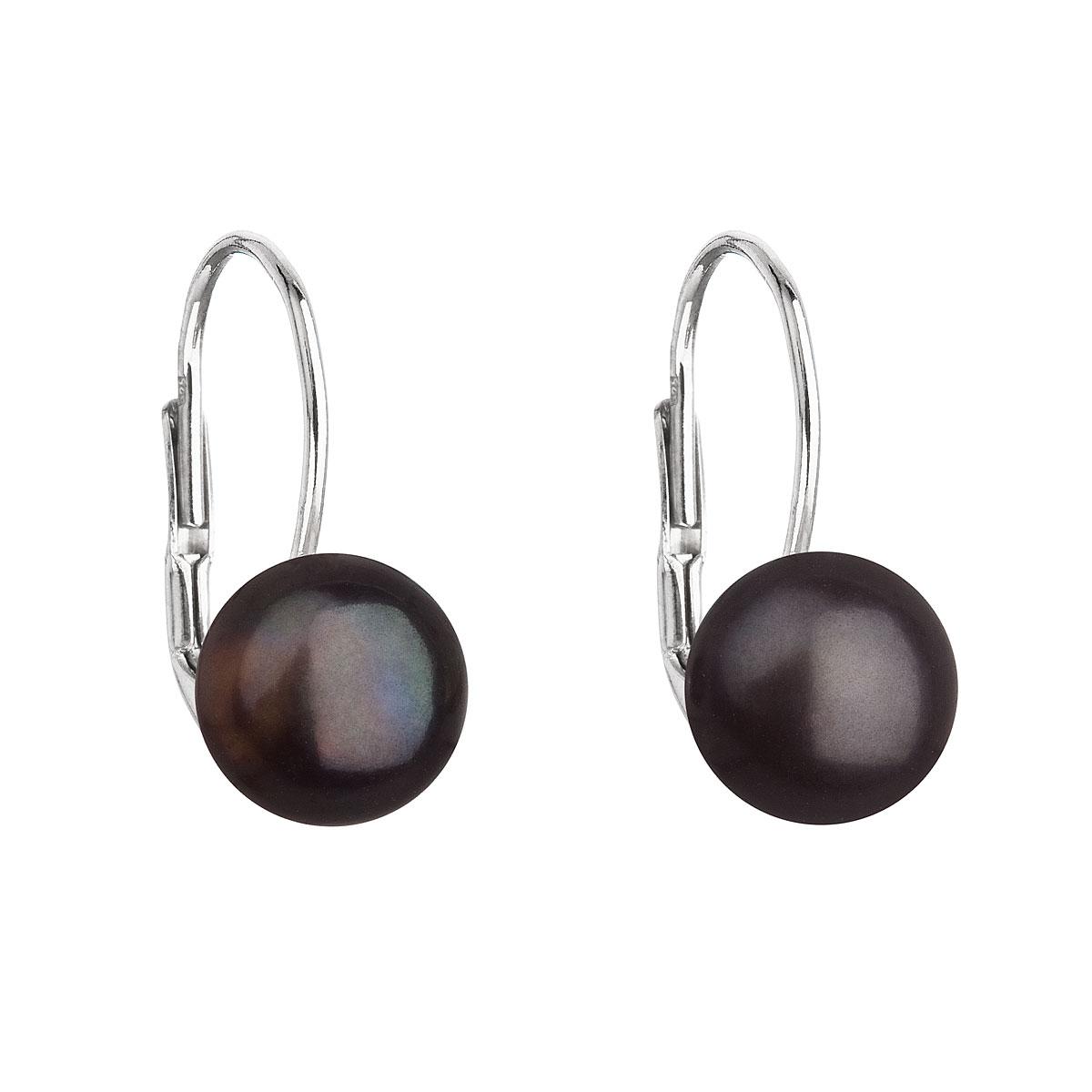 Evolution Group Stříbrné náušnice visací s černou říční perlou 21044.3