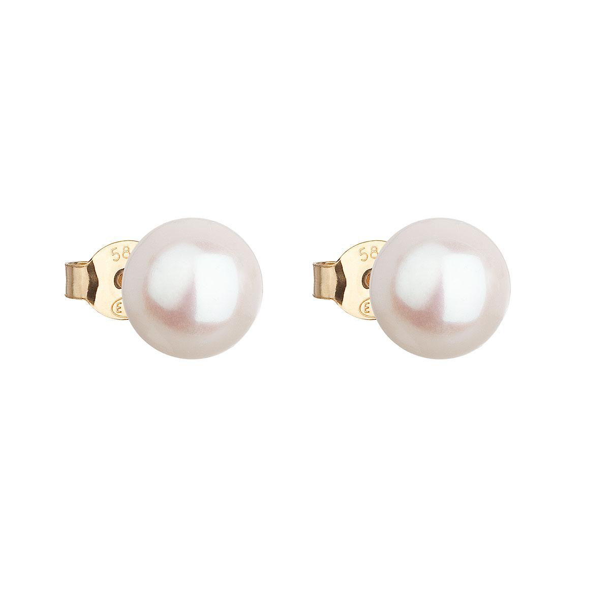 Evolution Group Zlaté 14 karátové náušnice pecky s bílou říční perlou 921042.1