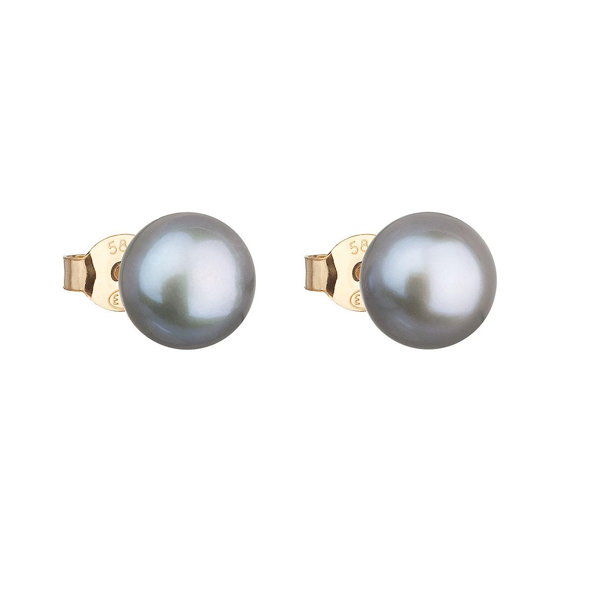 Evolution Group Zlaté 14 karátové náušnice pecky s šedou říční perlou 921042.3