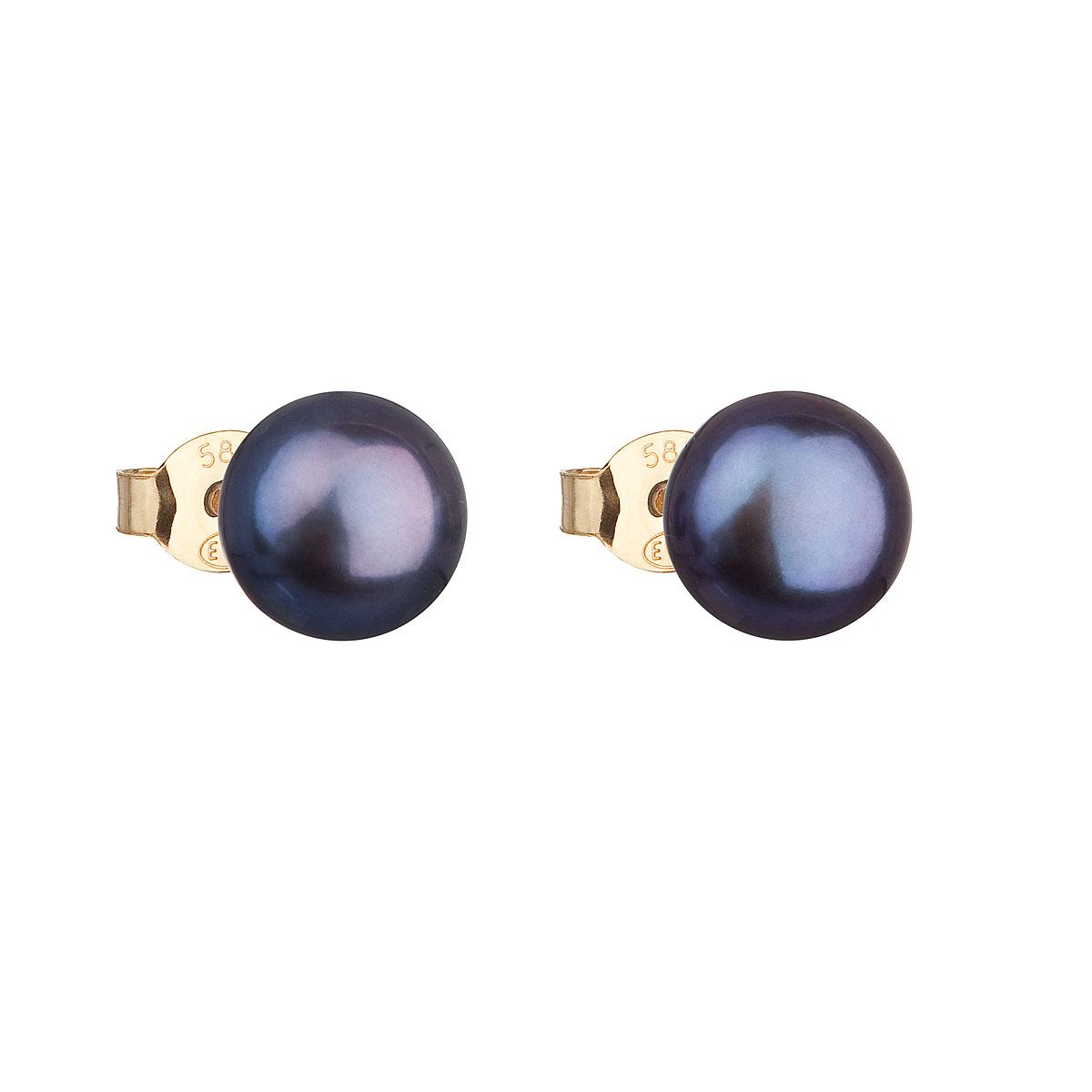 Evolution Group Zlaté 14 karátové náušnice pecky s modrou říční perlou 921042.3
