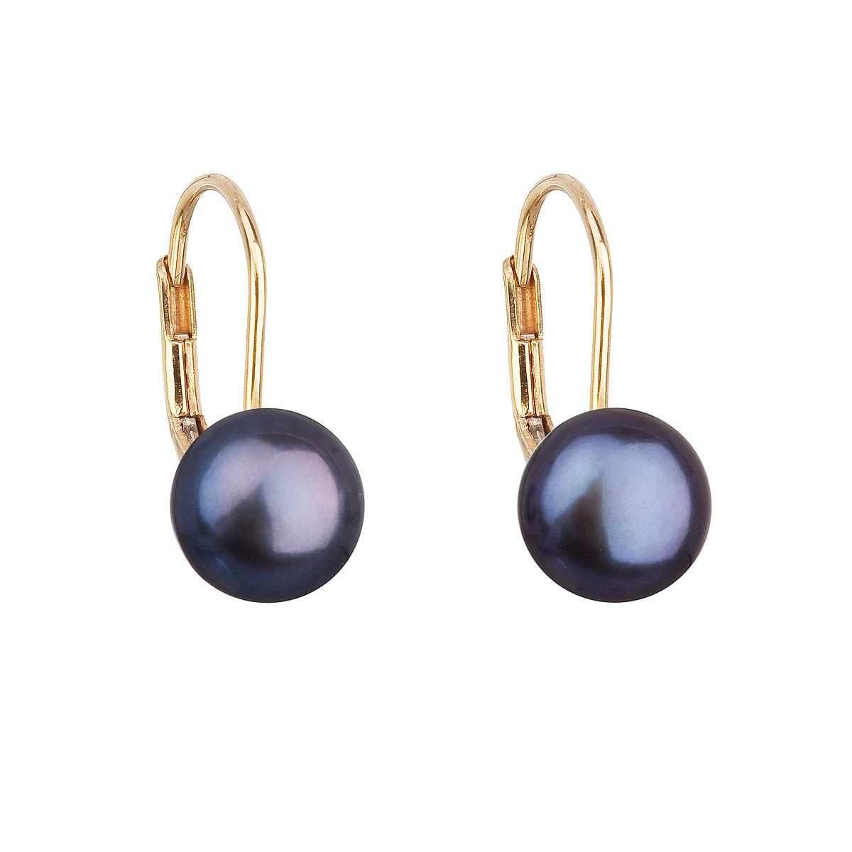 Evolution Group Zlaté 14 karátové náušnice visací s modrou říční perlou 921009.3
