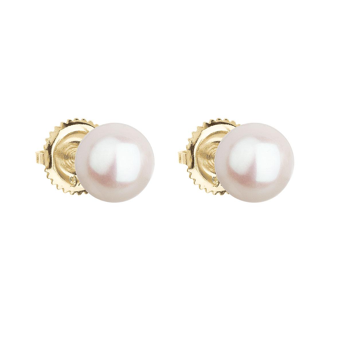 Evolution Group Zlaté 14 karátové náušnice pecky s bílou říční perlou 921004.1