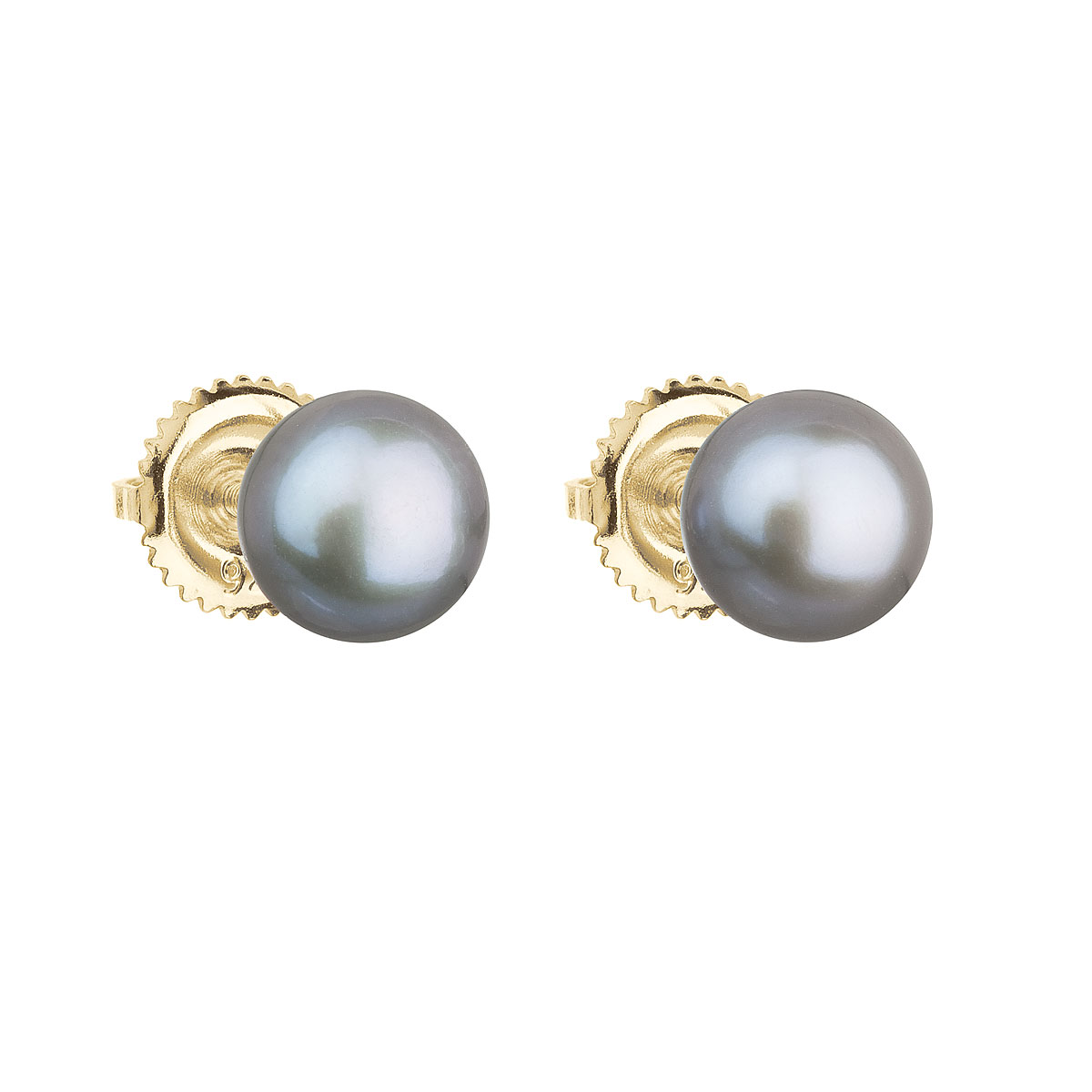 Evolution Group Zlaté 14 karátové náušnice pecky s šedou říční perlou 921004.3