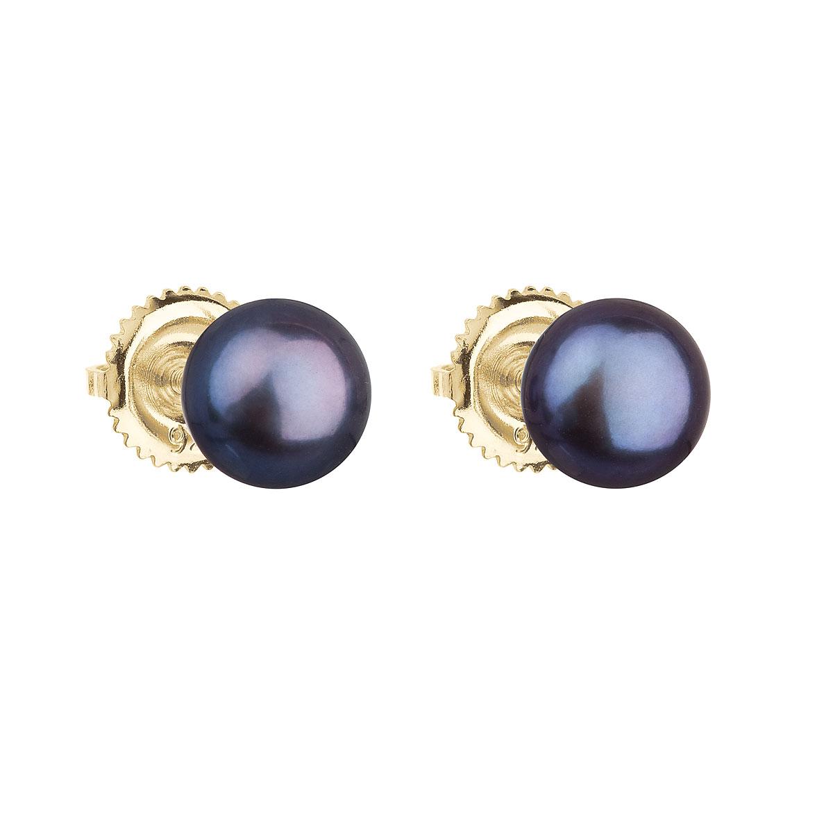 Evolution Group Zlaté 14 karátové náušnice pecky s modrou říční perlou 921004.3
