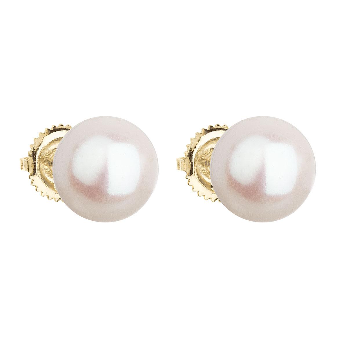 Evolution Group Zlaté 14 karátové náušnice pecky s bílou říční perlou 921005.1