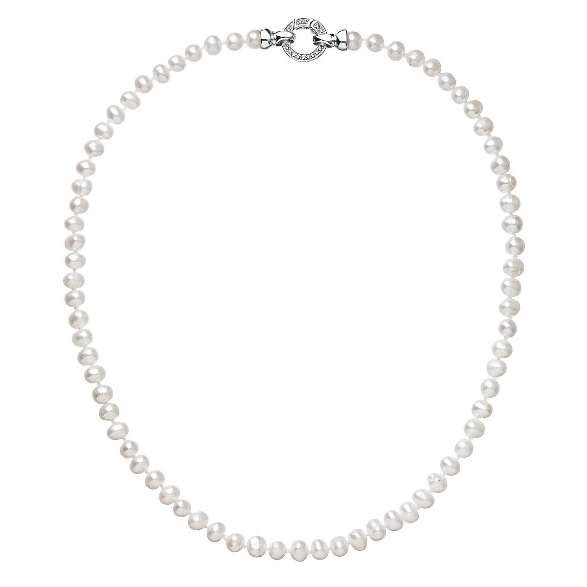 Evolution Group Perlový náhrdelník z pravých říčních perel bílý 22001.1