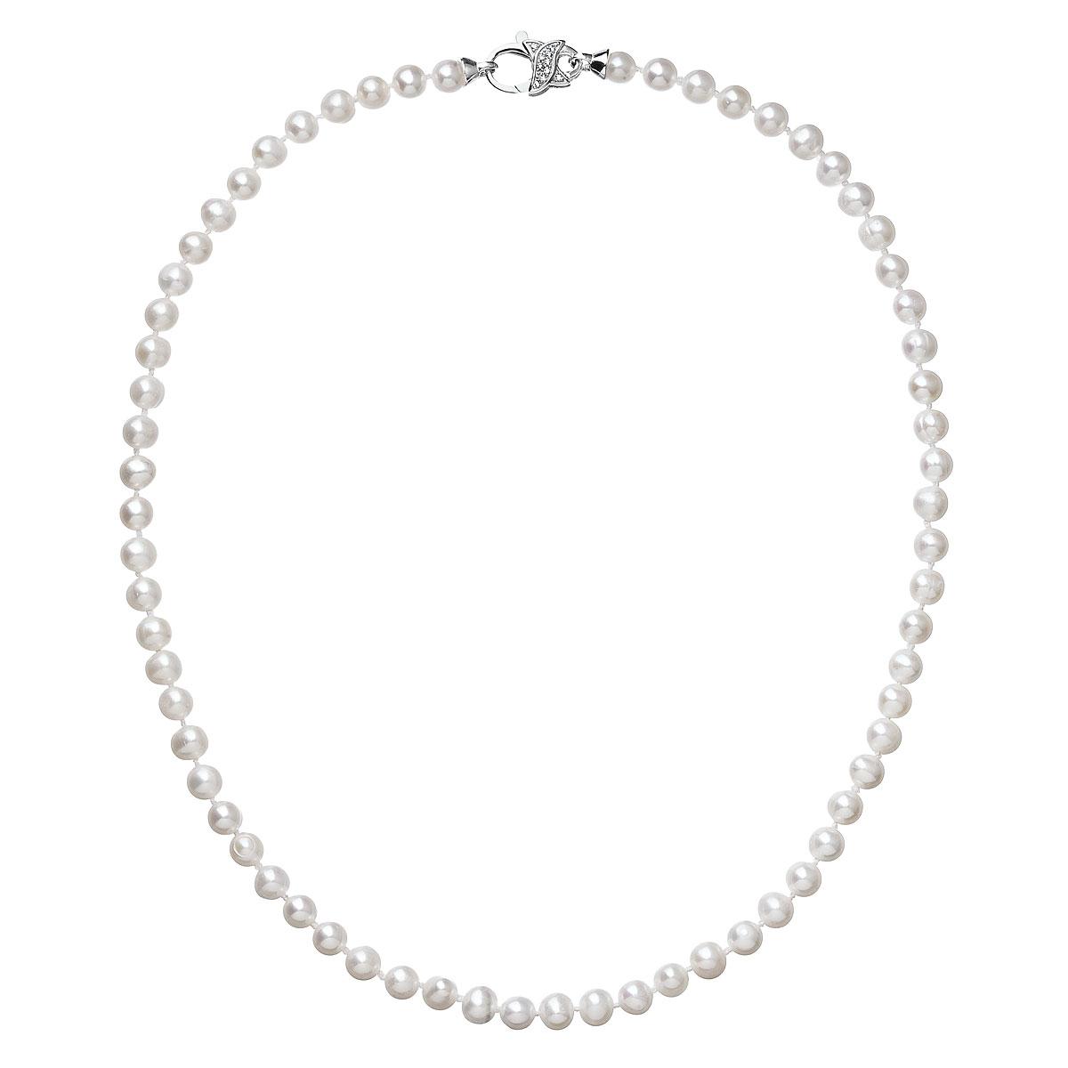 Evolution Group Perlový náhrdelník z pravých říčních perel bílý 22002.1