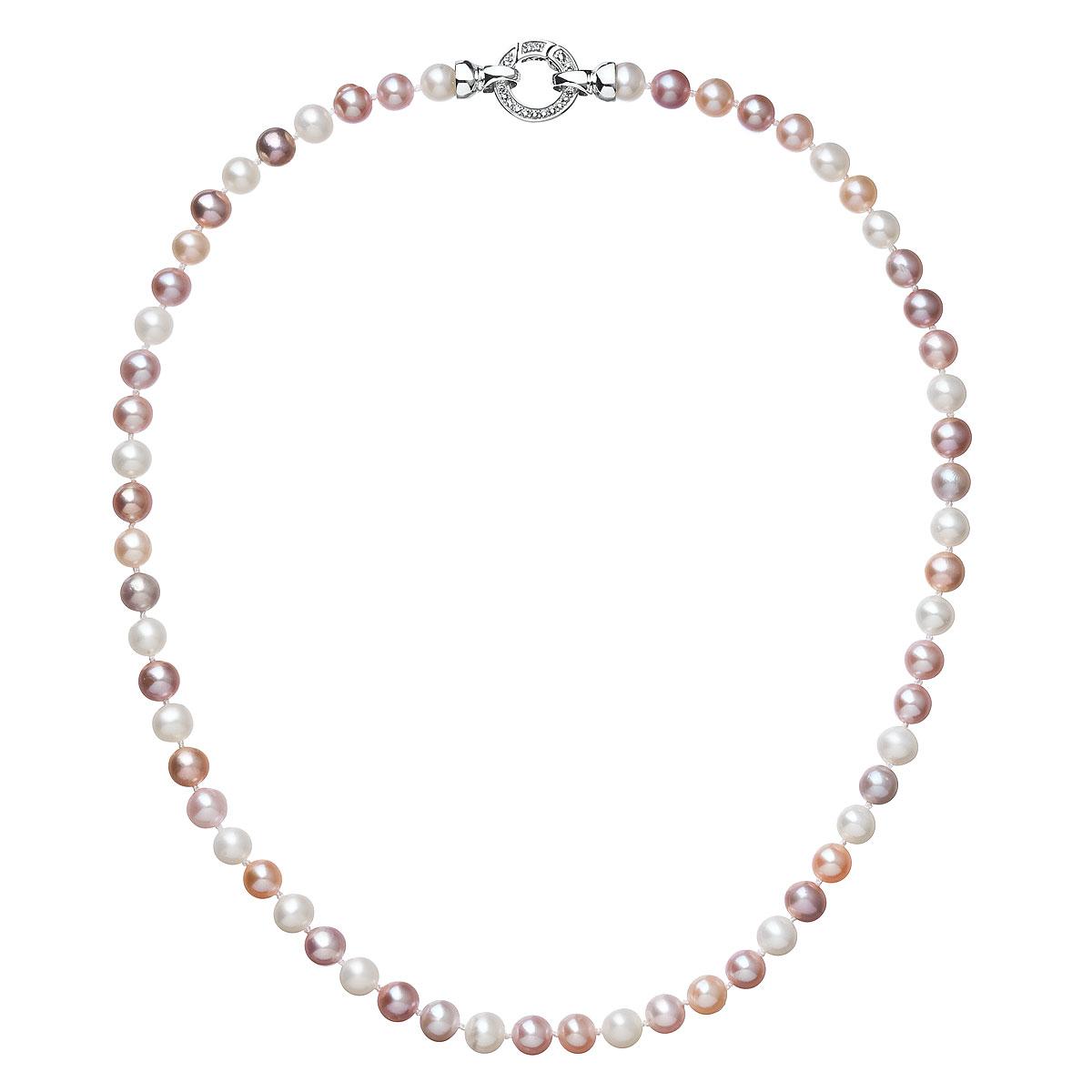 Evolution Group Perlový náhrdelník z pravých říčních perel mix barev 22004.3