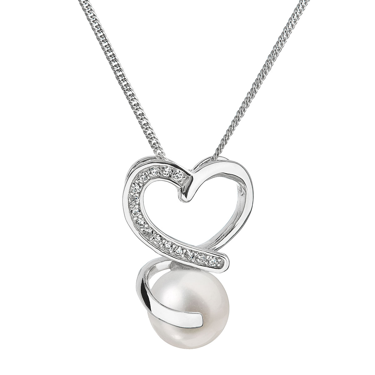 Evolution Group Perlový náhrdelník s řetízkem z pravých říčních perel bílý 22012.1