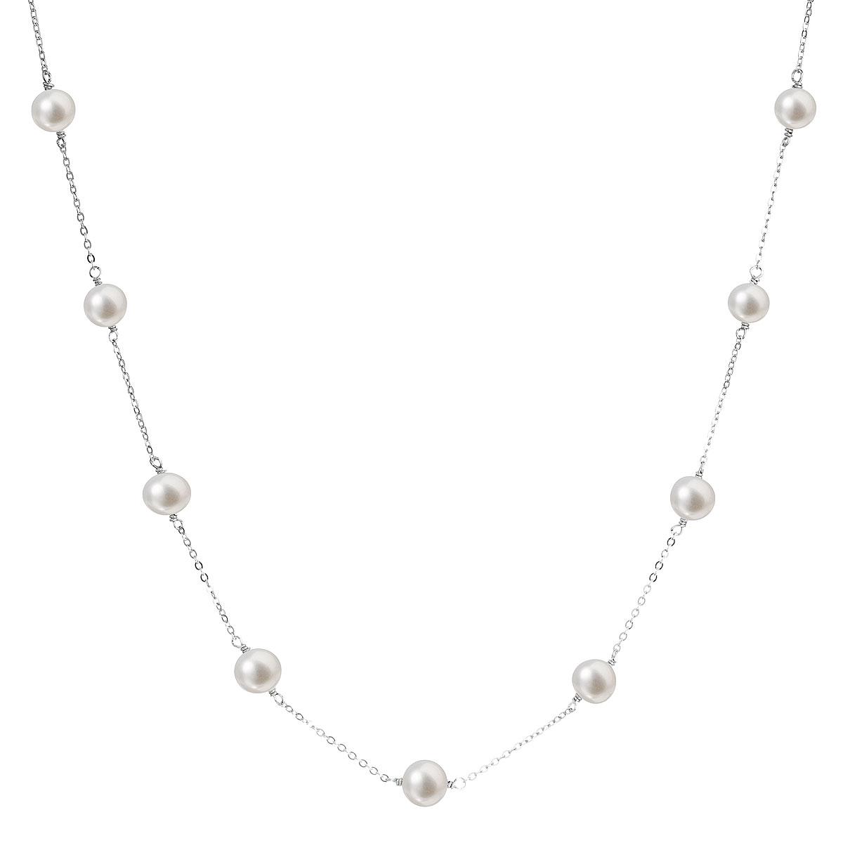 Evolution Group Perlový náhrdelník z pravých říčních perel bílý 22013.1