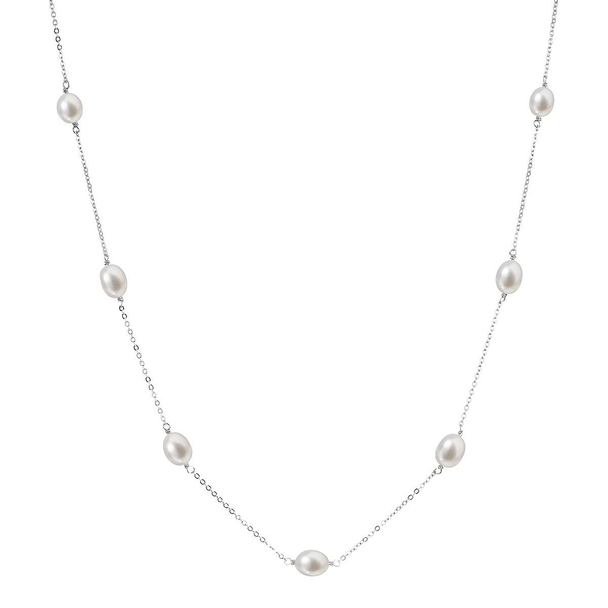 Evolution Group Perlový náhrdelník z pravých říčních perel bílý 22016.1