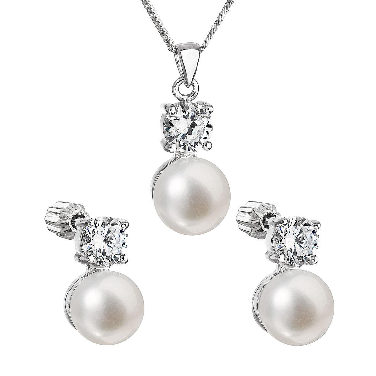 Perlová souprava včetně řetízku z říčních perel bílá 29002.1