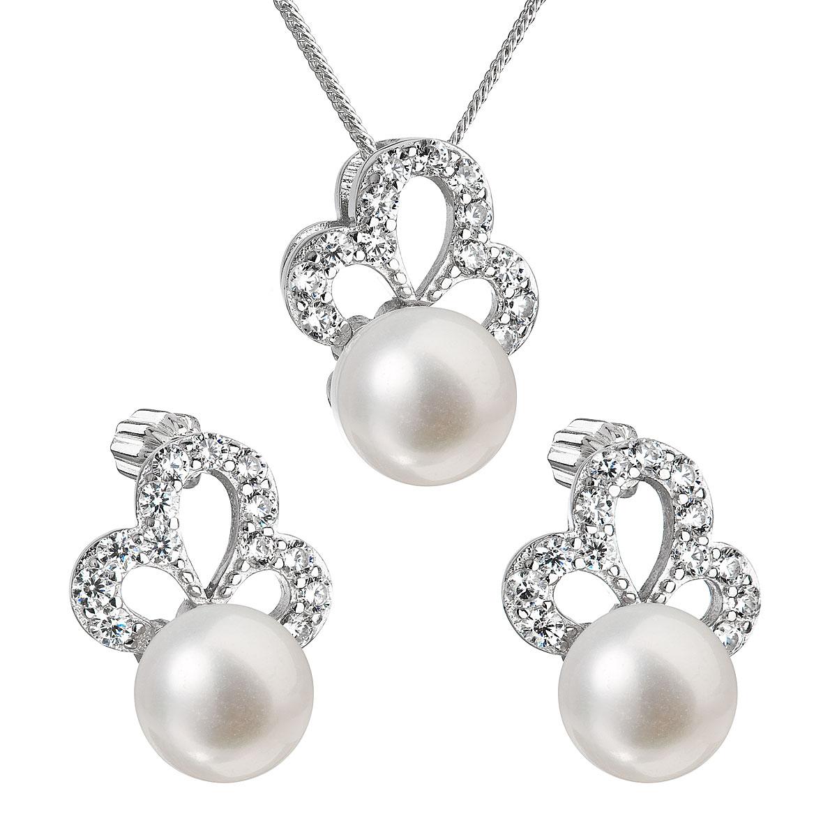 Perlová souprava z říčních perel bílá 29010.1