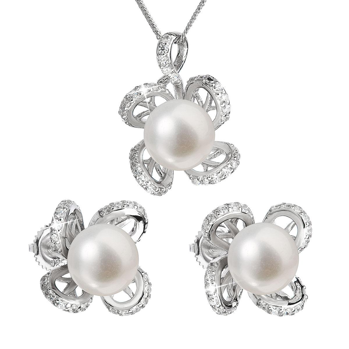 Perlová souprava z říčních perel bílá 29016.1
