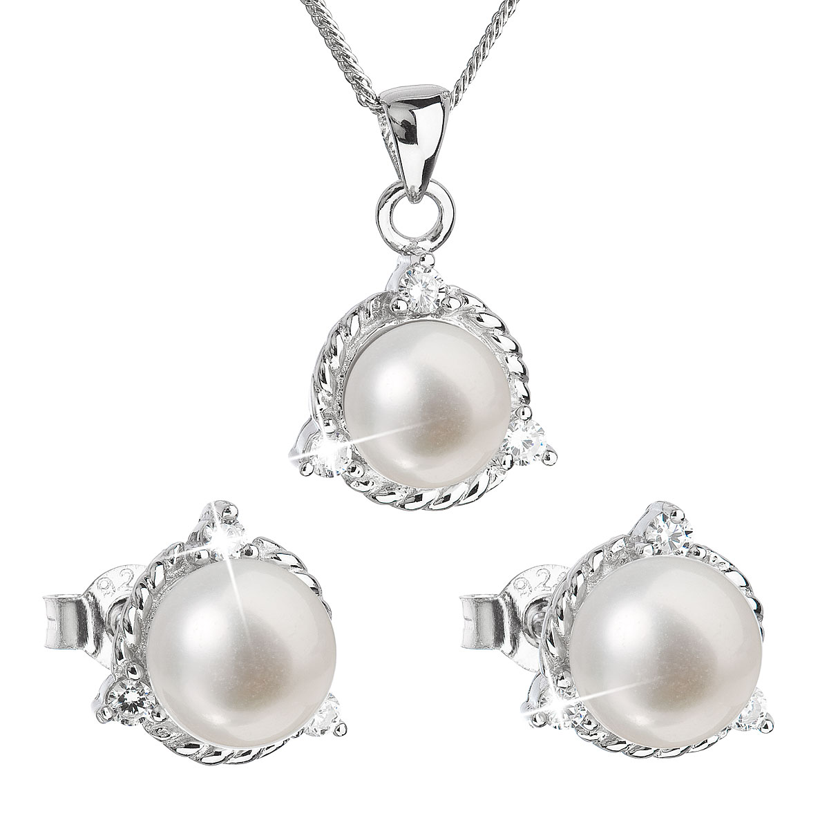Perlová souprava z říčních perel bílá 29033.1