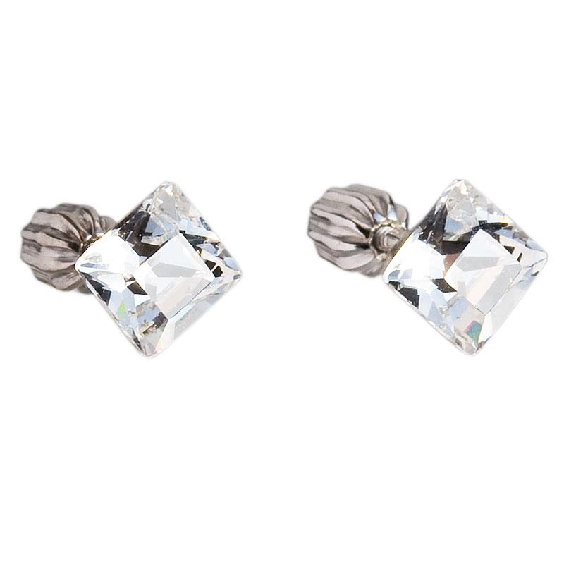 Evolution Group Stříbrné náušnice pecka s krystaly Swarovski bílý čtverec 31065.1