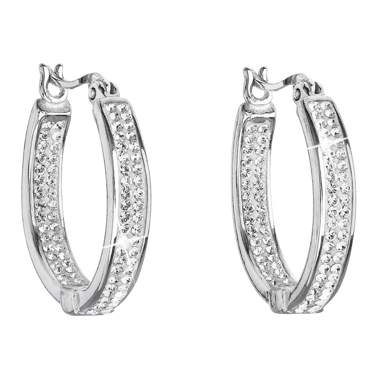 Stříbrné náušnice kruhy s krystaly Swarovski bílý kruh 31121.1
