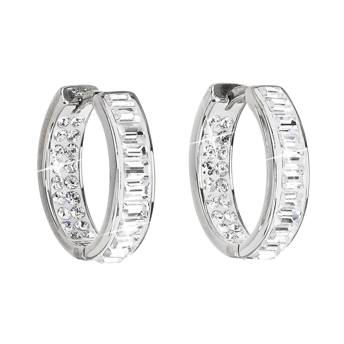 Stříbrné náušnice kruhy s krystaly Swarovski bílý kruh 31132.1 da818490cbe