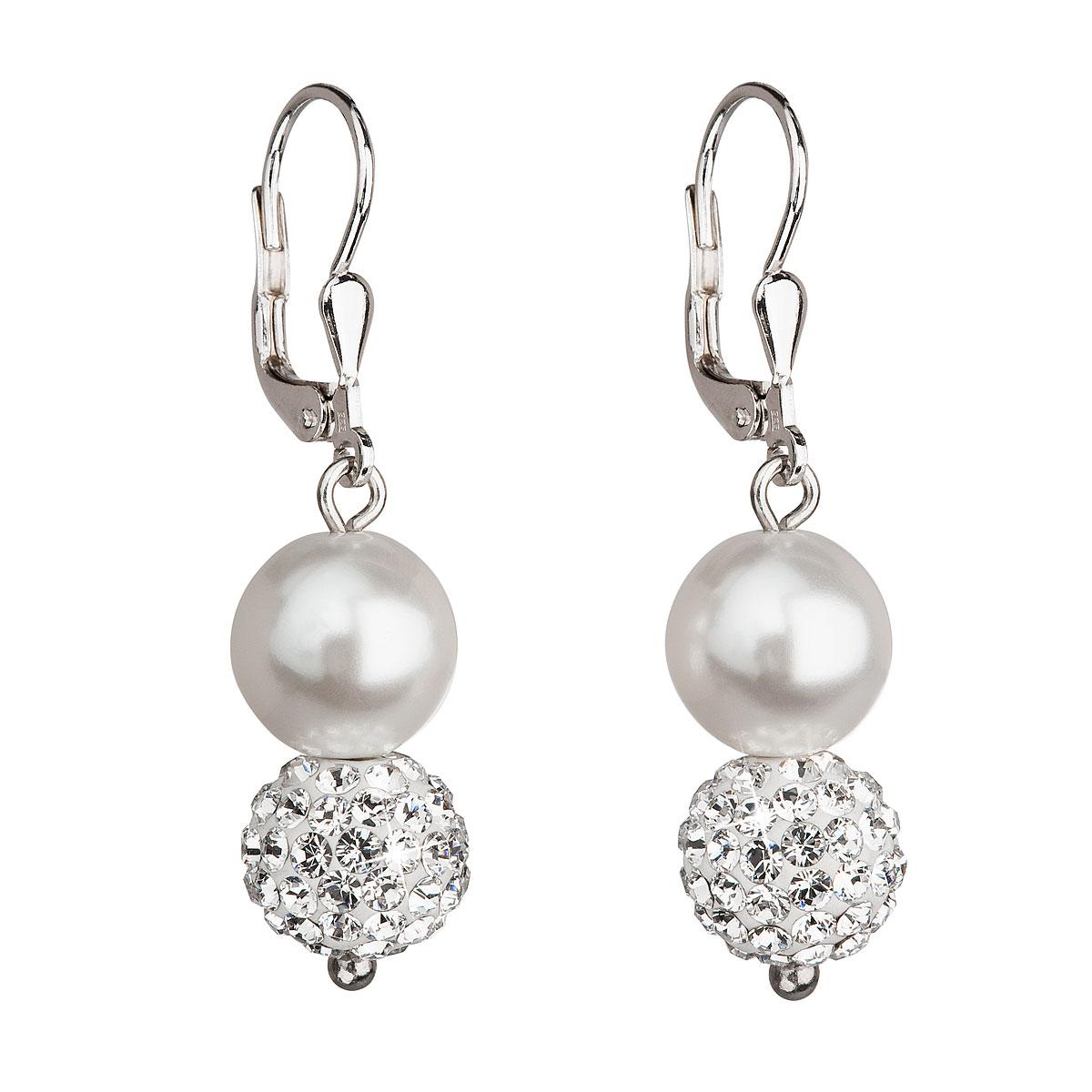 Evolution Group Stříbrné náušnice visací s krystaly Swarovski bílé kulaté  31155.1 a6c9070c3c