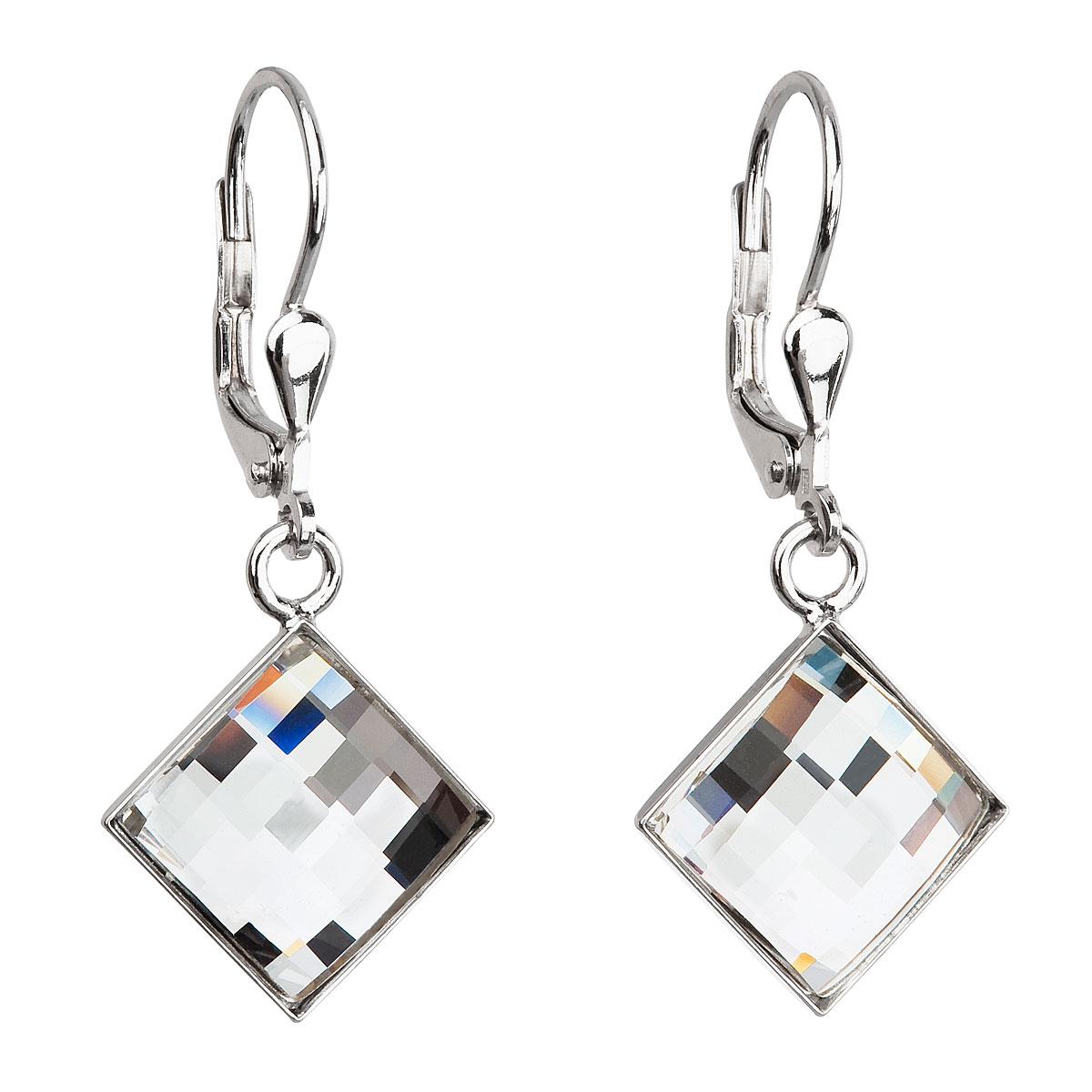 Evolution Group Stříbrné náušnice visací s krystaly Swarovski bílé  kosočtverec 31158.1 6c2a38f28f